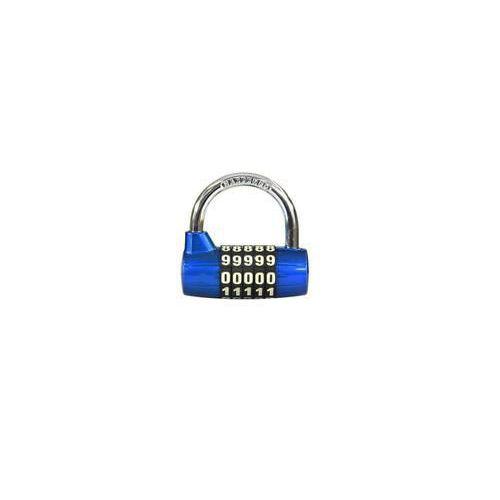 Kódový visací zámek, zinek, modrý, průměr třmene 7 mm, výška 32
