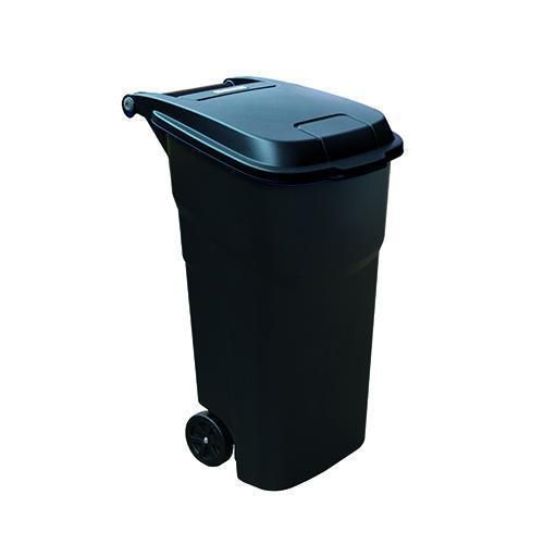 Plastová venkovní popelnice Manutan na tříděný odpad, objem 100 l, víko černé