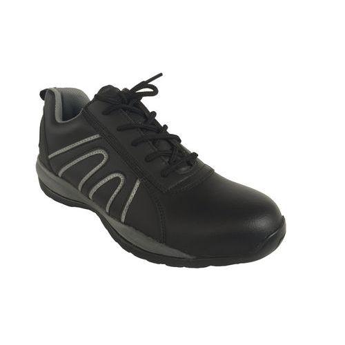 Sportovní kožené tenisky Manutan s ocelovou špicí, černé/šedé