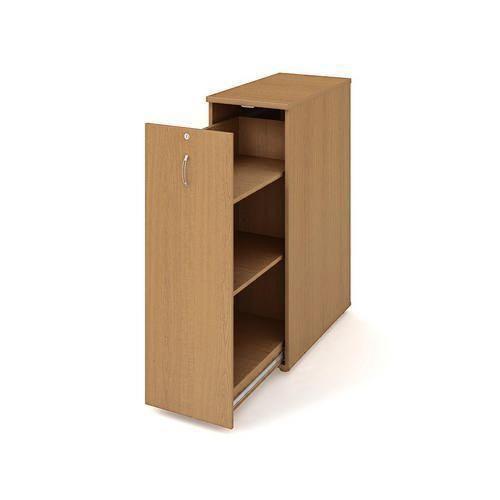 Přístavbová střední skříň, 117,7 x 40 x 80 cm, výsuvná se dvěma policemi - levé provedení, dezén buk - Prodloužená záruka na 10 let