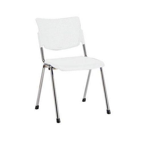 Plastová jídelní židle MIA Chrom, bílá