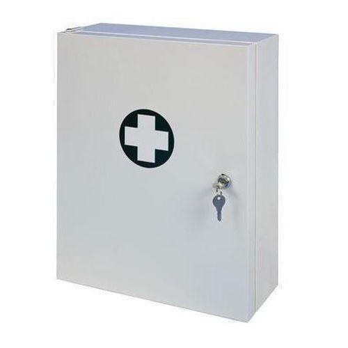 Kovová nástěnná lékárnička, uzamykatelná, 45 x 35 x 15 cm, s náp