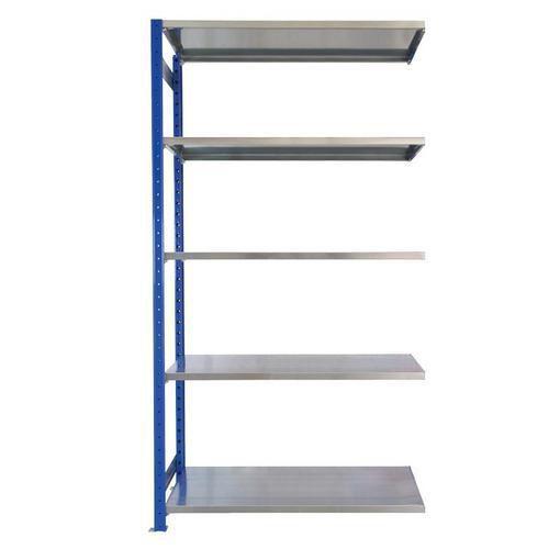 Kovový regál, přístavbový, 200 x 100 x 40 cm, 2 000 kg, 5 polic, modrý