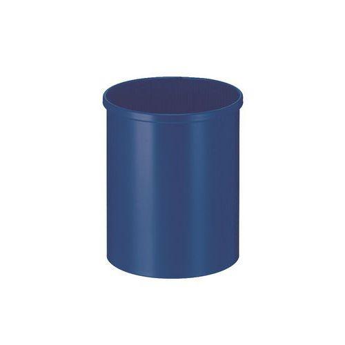 Kovový odpadkový koš Tube, objem 15 l, modrý