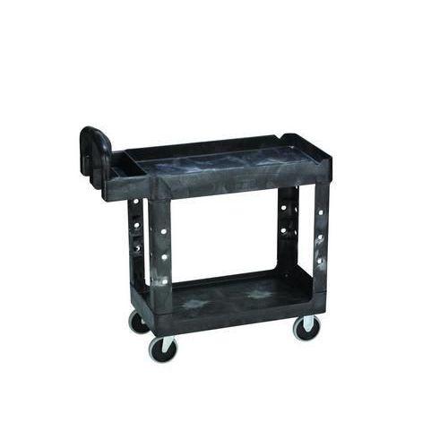 Plastový policový vozík s madlem, do 220 kg, 2 police s vyvýšenými hranami, 99 x 45 cm - Prodloužená záruka na 10 let
