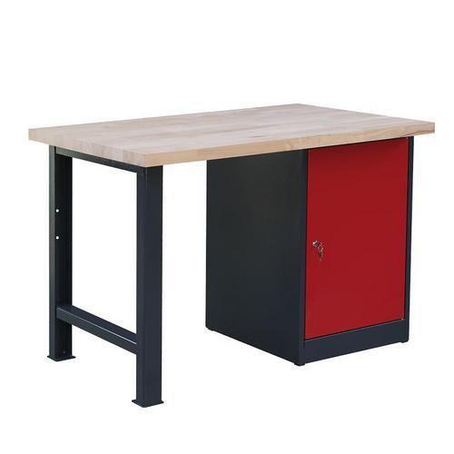 Dílenský stůl Weld se skříňkou 80 cm, 84 x 120 x 80 cm, antracit - Prodloužená záruka na 10 let