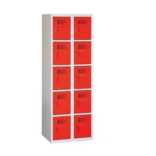 Svařovaná šatní skříň Eric odlehčená, 10 boxů, cylindrický zámek