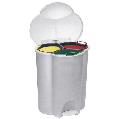 Plastové odpadkové koše Rubbermaid Trio Pedal na tříděný odpad, objem 2 x 17 l