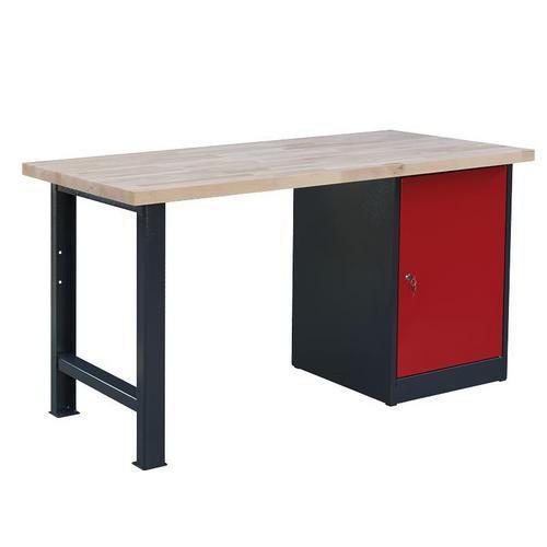 Dílenský stůl Weld se skříňkou 80 cm, 84 x 150 x 80 cm, antracit