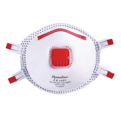 Respirátor Manutan s ventilkem, stupeň ochrany FFP3, 5 ks