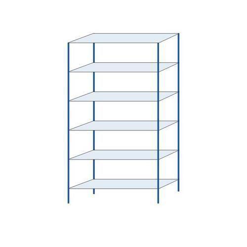 Kovový regál, základní, 250 x 130 x 40 cm, 2 000 kg, 6 polic, modrý