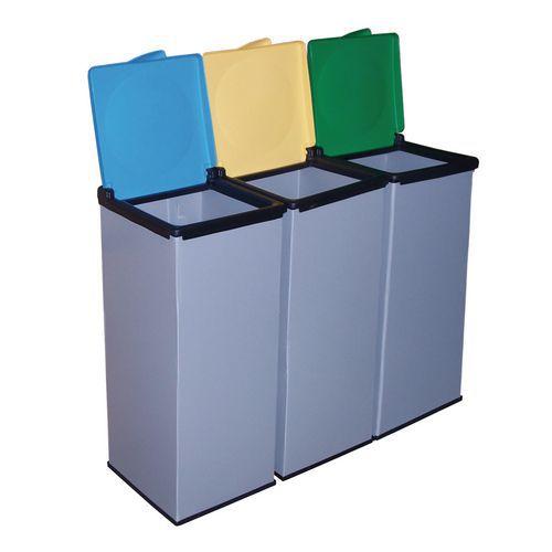 Sady 3 ks plastových odpadkových košů Monti na tříděný odpad, objem 3 x 85 l