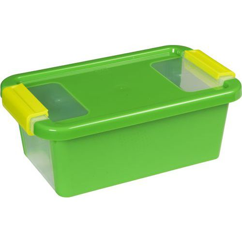 Plastový úložný box s víkem na klip, zelený, 3 l