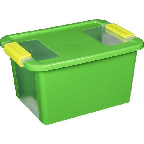 Plastový úložný box s víkem na klip, zelený, 11 l