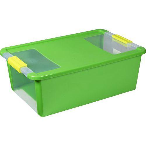 Plastový úložný box s víkem na klip, zelený, 26 l