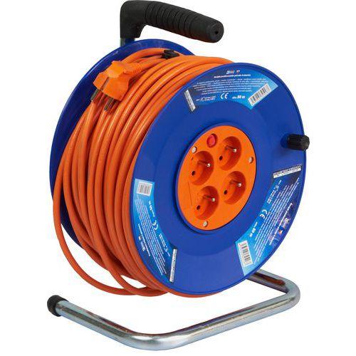 Plastový prodlužovací kabel na bubnu se čtyřmi zásuvky, 50 m