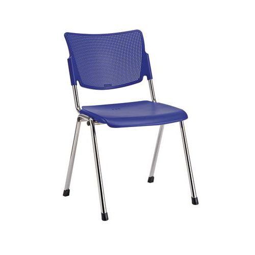 Plastová jídelní židle MIA Chrom, modrá