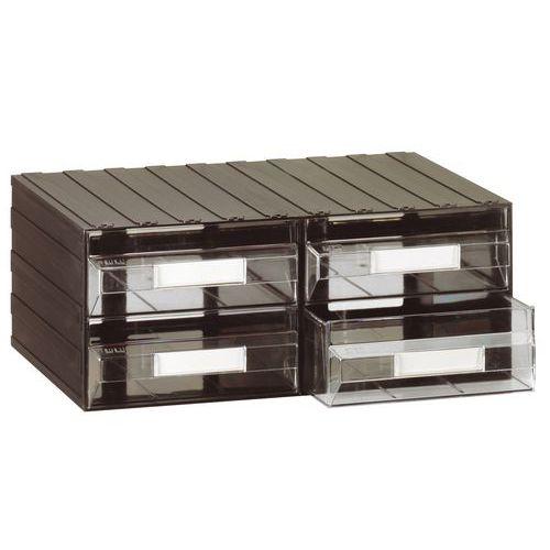 Modulový organizér PS, 4 zásuvky, černý/transparentní