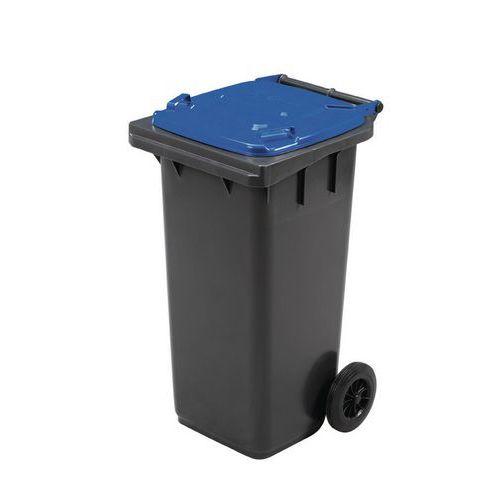 Plastová venkovní popelnice Manutan na tříděný odpad, objem 120 l, modrá