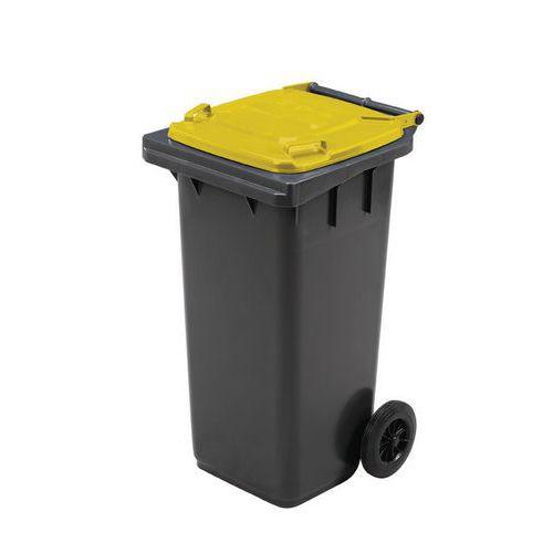 Plastová venkovní popelnice Manutan na tříděný odpad, objem 120 l, žlutá