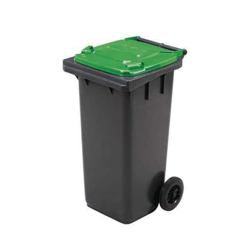 Plastová venkovní popelnice Manutan na tříděný odpad, objem 120 l, zelená