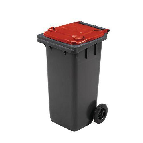 Plastová venkovní popelnice Manutan na tříděný odpad, objem 120 l, červená