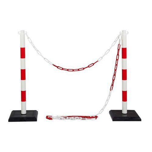 Plastové zahrazovací sloupky Ping s řetězem, výška 90 cm, 2 ks, bílé/červené - Prodloužená záruka na 10 let
