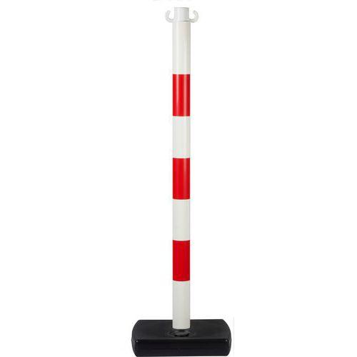 Plastový zahrazovací sloupek Tao, výška 90 cm, bílý/červený