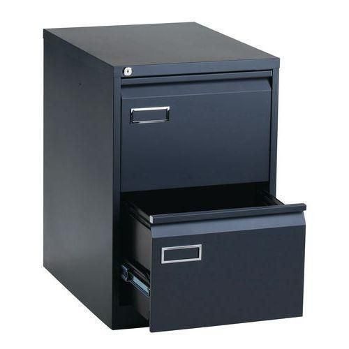 Jednořadá kovová kartotéka A4 Manutan, 2 zásuvky, antracit - Prodloužená záruka na 10 let
