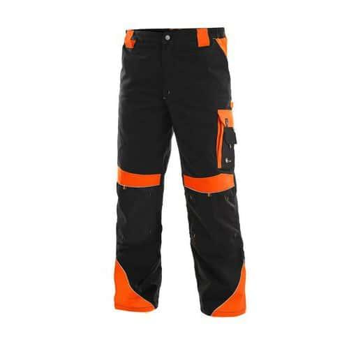Pánské montérkové kalhoty CXS Sirius Brighton s reflexními prvky, černé/oranžové