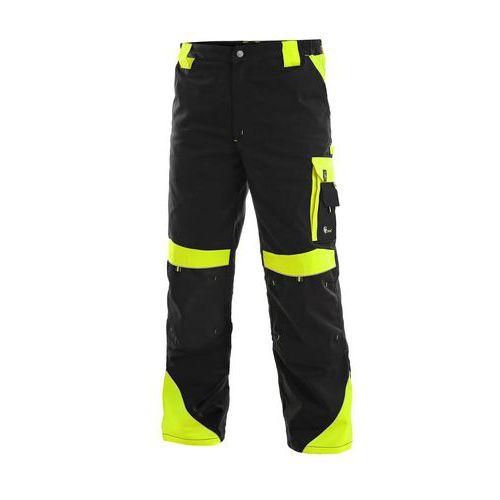 Pánské montérkové kalhoty CXS Sirius Brighton s reflexními prvky, černá/žlutá