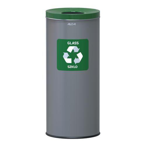 Kovové odpadkové koše EKO na tříděný odpad, objem 45 l, zelený