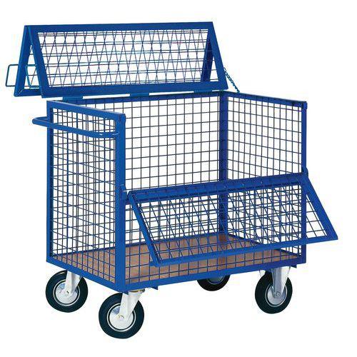 Uzavíratelný skříňový vozík s madlem a mřížovými stěnami, do 400