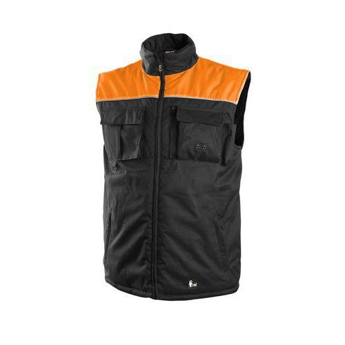 Pánská zimní vesta SEATTLE, fleece, černo-oranžová, vel. XL