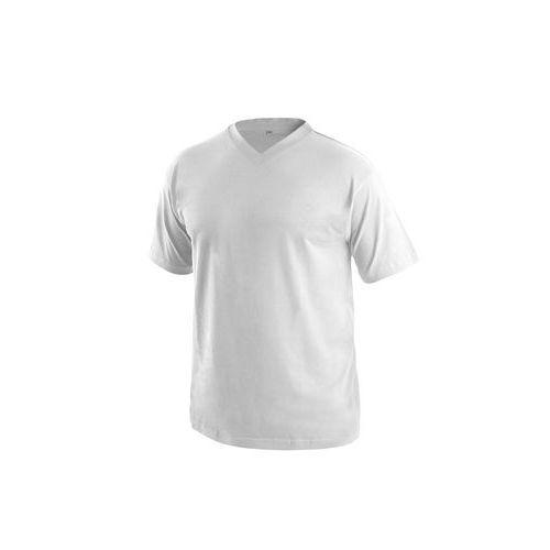 Tričko s krátkým rukávem DALTON, výstřih do V, bílá
