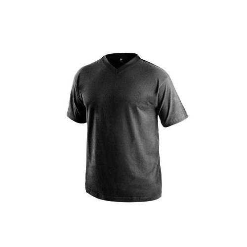Tričko s krátkým rukávem DALTON, výstřih do V, černá