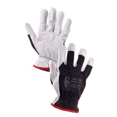 Kombinované rukavice TECHNIK PLUS, černo-bílé, vel. 08