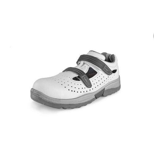 Sandál s ocelovou špicí PINE S1, perforovaný, bílá