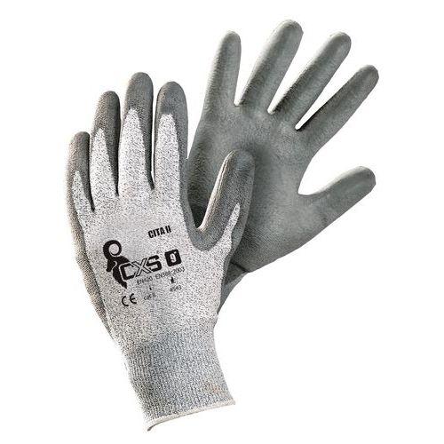 Polyetylenové rukavice CXS Cita II polomáčené v polyuretanu, šedé