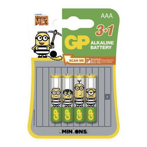 Alkalická baterie GP LR03 (AAA), limit. edice MIMONI 3+1 ks