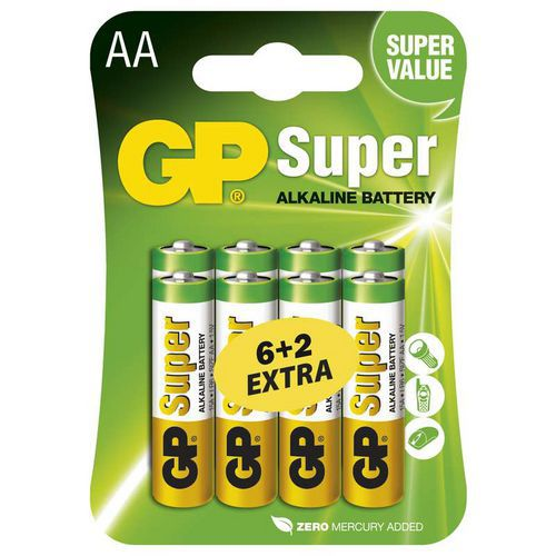 GP Super Alkaline AA 6+2ks 1013218000