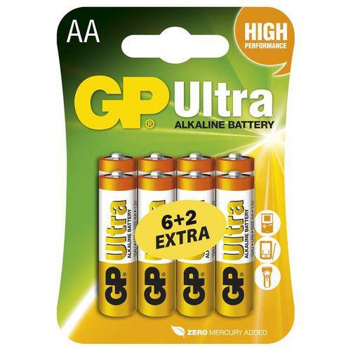 Alkalická baterie GP Ultra LR6 (AA), 6+2 blistr