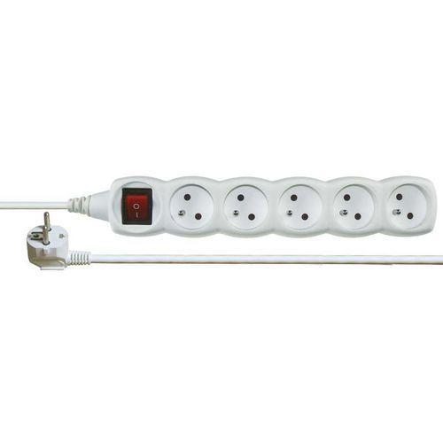 Prodlužovací kabel s vypínačem 5 zásuvek 2m, bílý