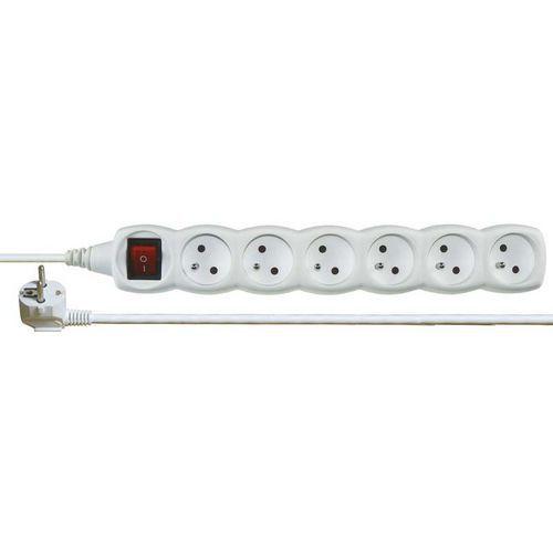 Prodlužovací kabel s vypínačem 6 zásuvek 2m, bílý