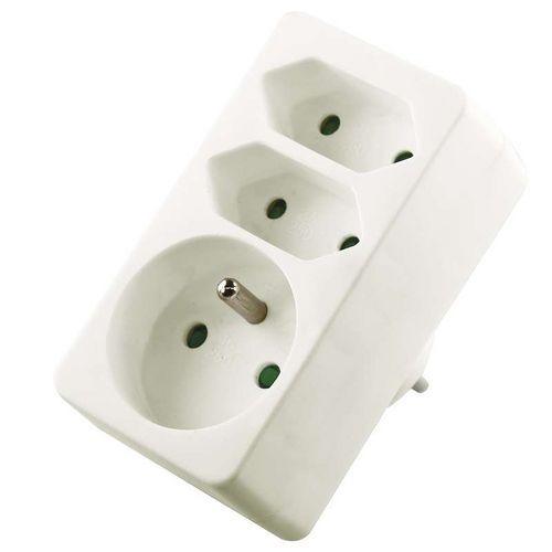 Emos Zásuvka rozbočovací 2x plochá + 1x kulatá, bílá