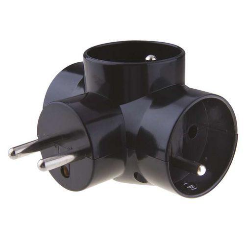 Emos Zásuvka rozbočovací 3x kulatá, černá
