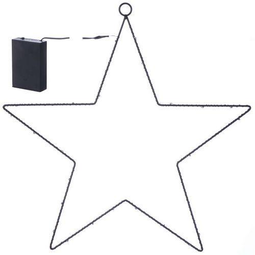 LED dekorace - hvězda kovová, 3xAA, teplá bílá, časovač