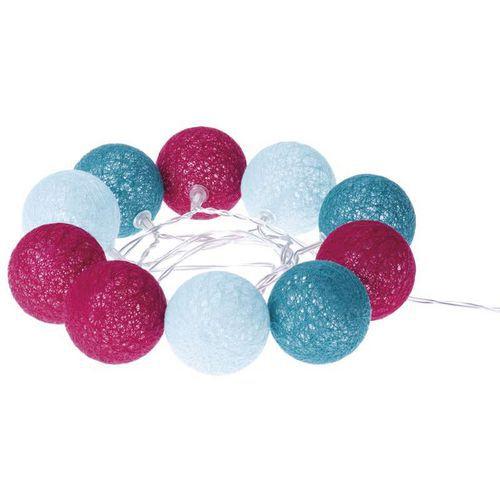 LED girlanda - koule bavlněné, jaro, 2xAA, teplá bílá, čas.