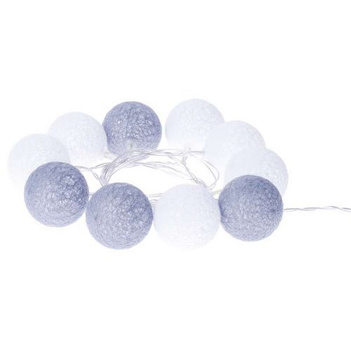 LED girlanda - koule bavlněné, zima, 2xAA, teplá bílá, čas.