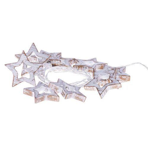 Emos ZY1968 vánoční osvětlení 10 LED vánoční girlanda - hvězdy dřevěné, 3xAA, teplá b.